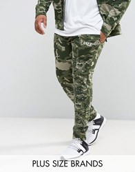 Defend London Plus Camo Skinny Joggers With Paint Splatter Green