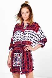 Boohoo Paisley Shirt Dress Red