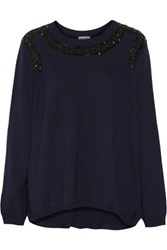 Oscar De La Renta Embellished Wool Sweater Navy