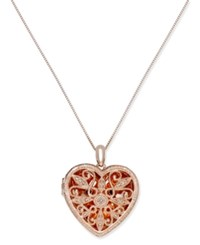 Macy's Diamond Heart Locket Pendant Necklace 1 4 Ct. T.W. In 14K Rose Gold Plated Sterling Silver