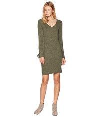 Tribal V Neck Dress With Sleeve Tie Loden Green