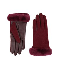 Ugg Shorty Smart Fabric Gloves W Short Pile Trim Lonely Hearts Multi Extreme Cold Weather Gloves Red