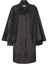 Burberry Cape Detail Nylon Twill Belted Coat Black
