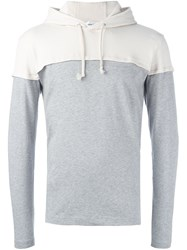 Comme Des Garcons Play Panelled Hoodie Grey