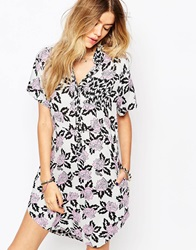 Vans Eley Kishimoto Short Sleeved Shirt Dress In All Over Retro Floral Print Multiblkwhtpnk