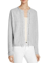 Minnie Rose Cashmere Fringe Trim Cardigan Light Heather