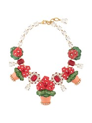 Dolce And Gabbana Flower Pot Necklace Red