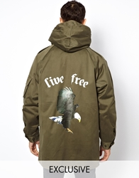 Reclaimed Vintage Military Parka With Fleece Lining And Back Print Green