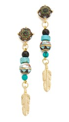 Holst Lee Feather Earrings Blue Multi