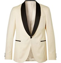 Hugo Boss White Nemir Slim Fit Wool And Silk Blend Tuxedo Jacket