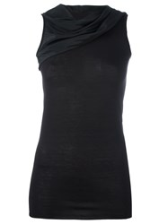 Rick Owens Lilies Draped Sleeveless Top Black