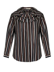 Nina Ricci Striped Exaggerated Collar Silk Top Brown Multi