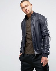Armani Jeans Leather Bomber Jacket In Navy Blu