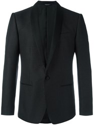 Dolce And Gabbana Micro Dotted Tuxedo Jacket Black