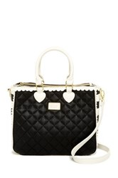 Betsey Johnson Scallop Triple Compartments Satchel Black