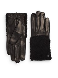 Vince Camuto Lamb Fur Trimmed Leather Gloves Black