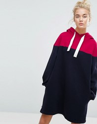 Tommy Jeans Colour Block Hooded Dress Navy Red