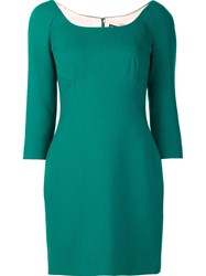 Dolce And Gabbana Fitted Mini Dress Green