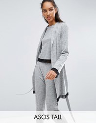 Asos Tall Lace Long Sleeve Trim Robe Grey
