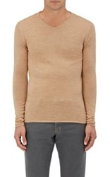 Barneys New York Men's Rolled Edge Wool V Neck Sweater Tan
