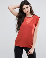 Vila Sleeveless Top With Ruffle Detail Ketchup Red