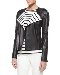 St. John Collection Luxe Napa Leather Striped Lapel Jacket Women's