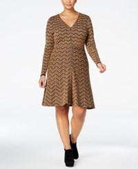 Inc International Concepts Plus Size Chevron Sweater Dress Only At Macy's Heather Ginger