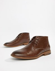 New Look Faux Leather Chukka Boot In Brown Dark Brown