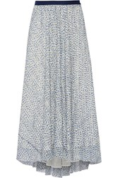 Band Of Outsiders Scribble Flower Althea Silk Fil Coupe Midi Skirt Blue