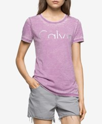 Calvin Klein Jeans Graphic Logo T Shirt Violet Grape