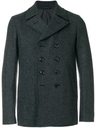 Aspesi Double Breasted Coat Polyamide Wool L Grey