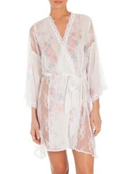 Jonquil Petal Floral Print Chiffon And Lace Wrap Ivory Rose Print