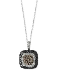 Effy Diamond Square Cluster Pendant Necklace 1 1 3 Ct. T.W. In 14K White Gold