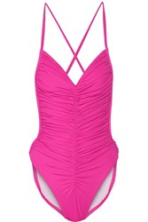 Norma Kamali Butterfly Mio Ruched Swimsuit Pink