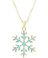 Macy's Blue Enamel Snowflake Pendant Necklace In 18K Gold Over Sterling Silver