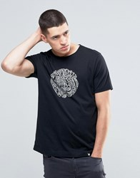 Pretty Green T Shirt With Linear Logo Print In Slim Fit Black Black