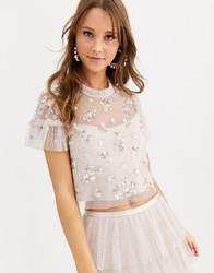 Needle And Thread Embellished Shimmer Crop Top In Pearl Rose Pink