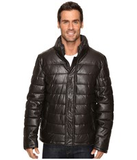 Dockers Fly Front Quilted Puffer W Sherpa Lined Collar Dark Brown Men's Coat