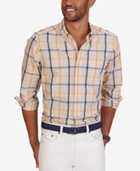Nautica Men's Sail Plaid Long Sleeve Shirt Orange Sorbet