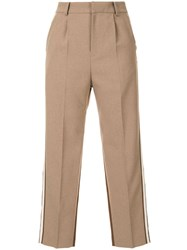 Loveless Contrast Cropped Trousers Brown
