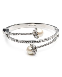 Carolee Simulated Pearl And Pave Bracelet Silver