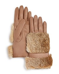 Bloomingdale's Rabbit Fur Gloves Taupe