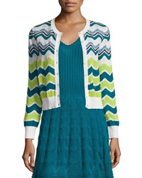 M Missoni Ripple Striped Short Cardigan White Size 44