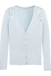 Temperley London Grace Lace Trimmed Wool Blend Cardigan Blue