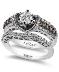 Le Vian Bridal Chocolate Diamonds And White Certified Diamond Engagement Set In 14K White Gold 1 1 2 Ct. T.W.