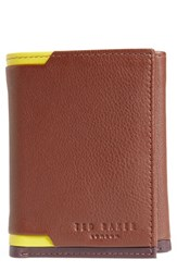 Ted Baker London Vien Corner Detail Trifold Leather Wallet Brown Tan
