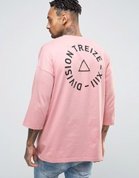 Asos Oversized 3 4 Sleeve T Shirt With Back Print Pink