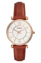 Fossil Carlie T Bar Crystal Leather Strap Watch 35Mm Brown Silver Rose Gold