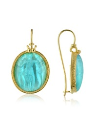 Tagliamonte Three Graces 18K Gold Mother Of Pearl Cameo Earrings Turquoise