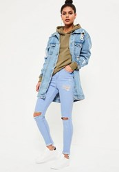 Missguided Blue Highwaisted Stepped Hem Skinny Jeans